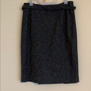 Gray belted pencil skirt